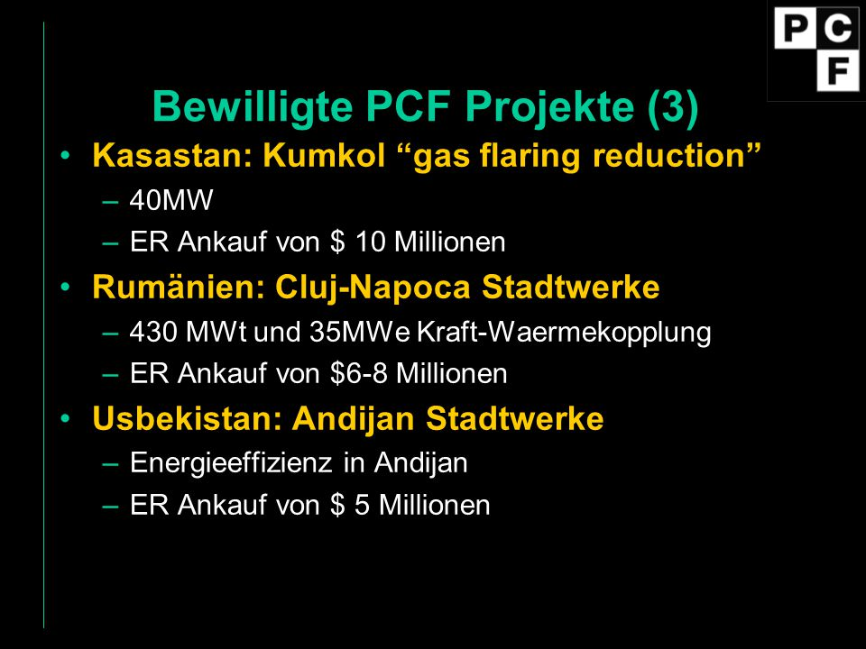 Bewilligte PCF Projekte (3)