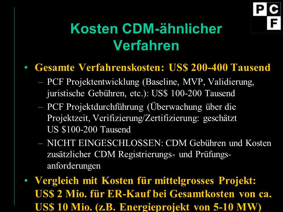 Kosten CDM-ähnlicher Verfahren