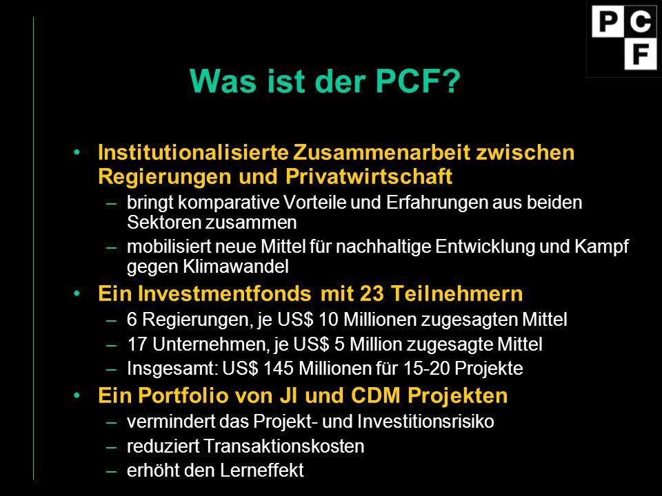 Was ist der PCF Institutionalisierte Zusammenarbeit zwischen Regierungen und Privatwirtschaft.
