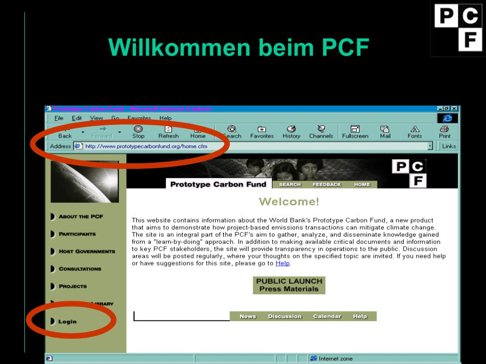 Willkommen beim PCF If you've never been there, this is what the page looks like….