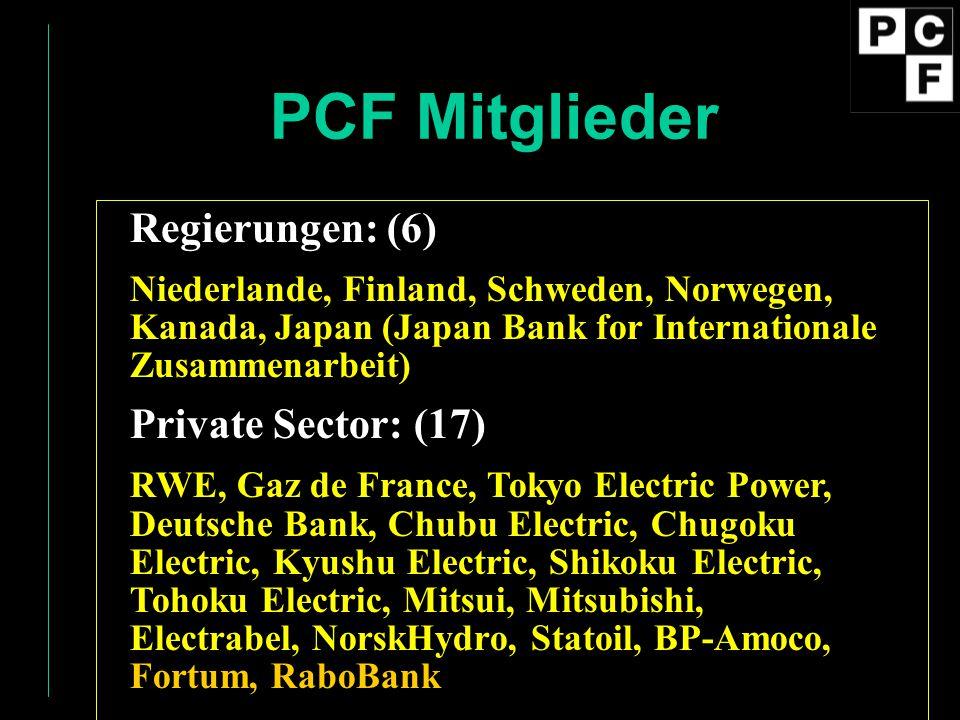 PCF Mitglieder Regierungen: (6) Private Sector: (17)