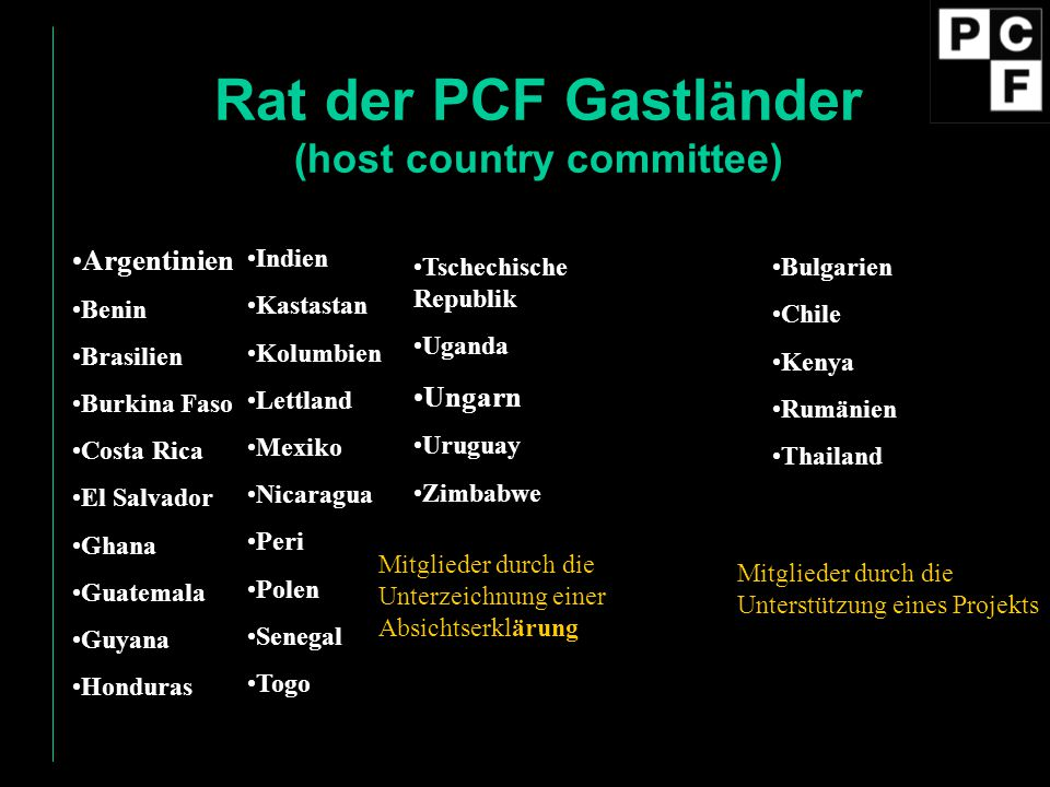Rat der PCF Gastländer (host country committee)