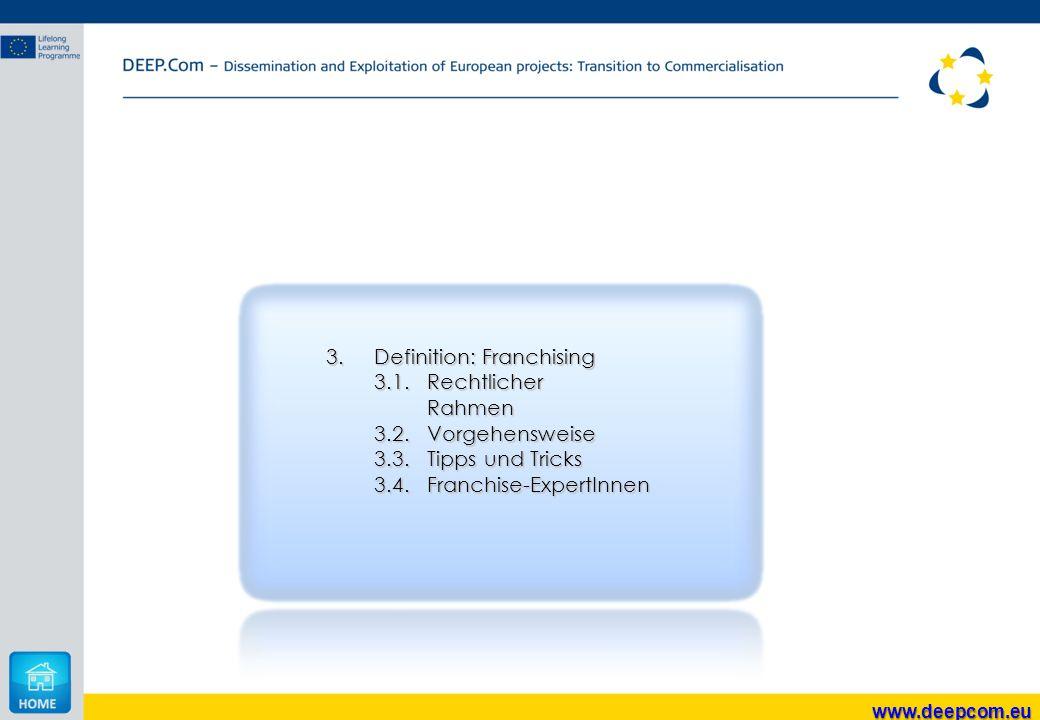 3. Definition: Franchising 3.1. Rechtlicher Rahmen 3.2. Vorgehensweise