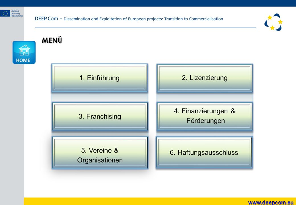 MENÜ 1. Einführung 2. Lizenzierung 4. Finanzierungen & 3. Franchising