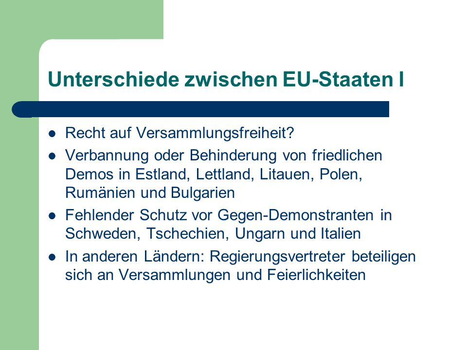 Unterschiede zwischen EU-Staaten I