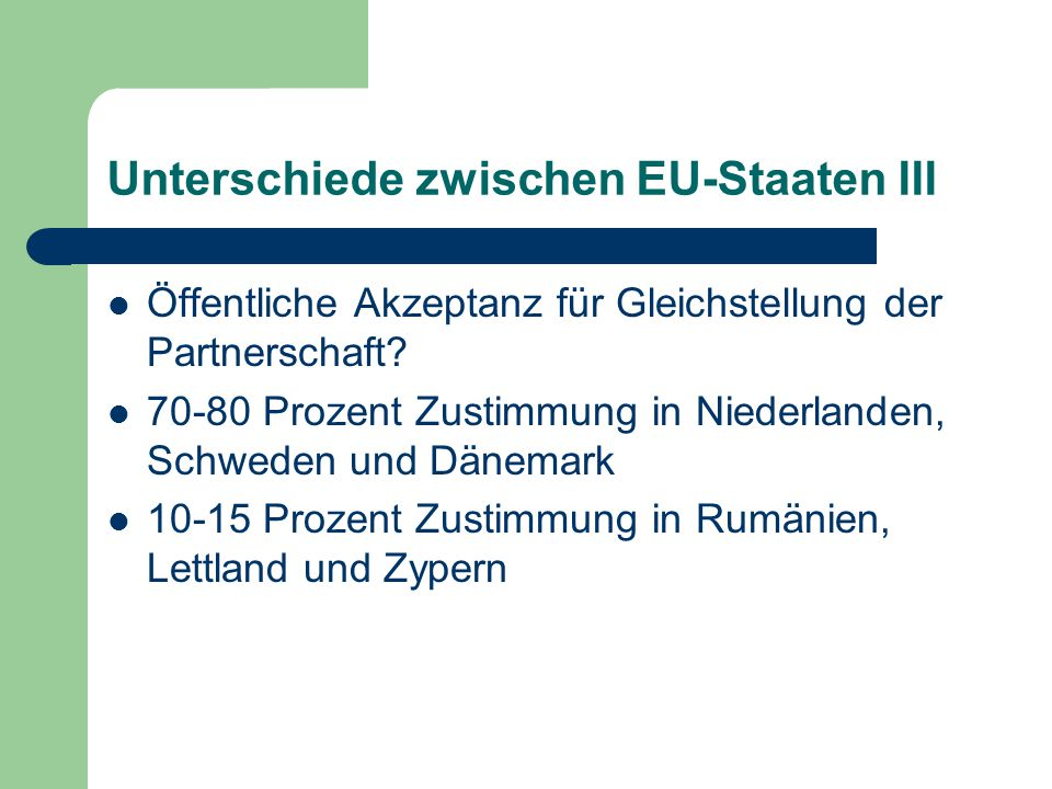 Unterschiede zwischen EU-Staaten III