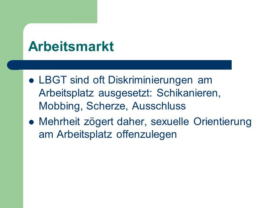 Arbeitsmarkt LBGT sind oft Diskriminierungen am Arbeitsplatz ausgesetzt: Schikanieren, Mobbing, Scherze, Ausschluss.
