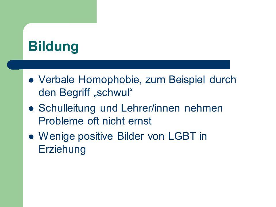 """Bildung Verbale Homophobie, zum Beispiel durch den Begriff """"schwul"""