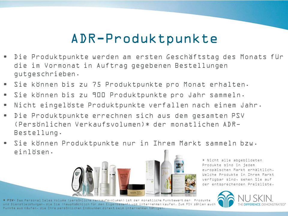 ADR-Produktpunkte Die Produktpunkte werden am ersten Geschäftstag des Monats für die im Vormonat in Auftrag gegebenen Bestellungen gutgeschrieben.