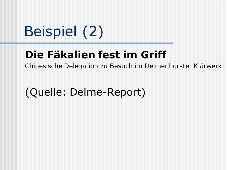 Beispiel (2) Die Fäkalien fest im Griff (Quelle: Delme-Report)