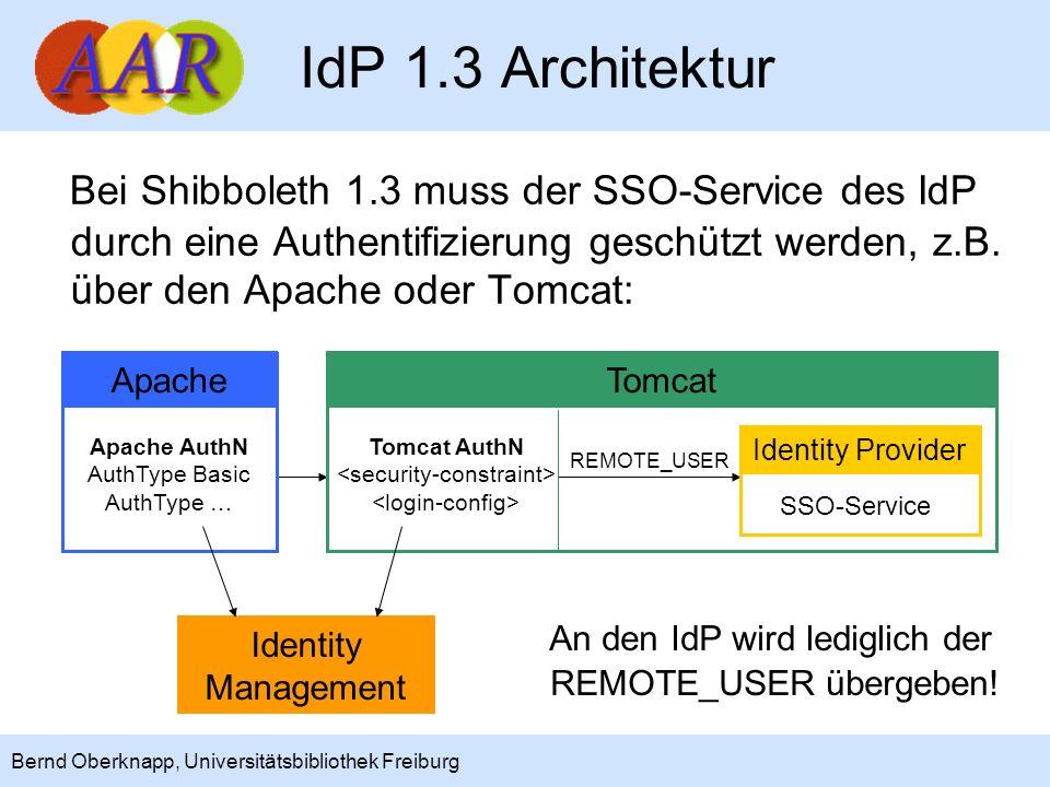 IdP 1.3 Architektur Bei Shibboleth 1.3 muss der SSO-Service des IdP durch eine Authentifizierung geschützt werden, z.B. über den Apache oder Tomcat: