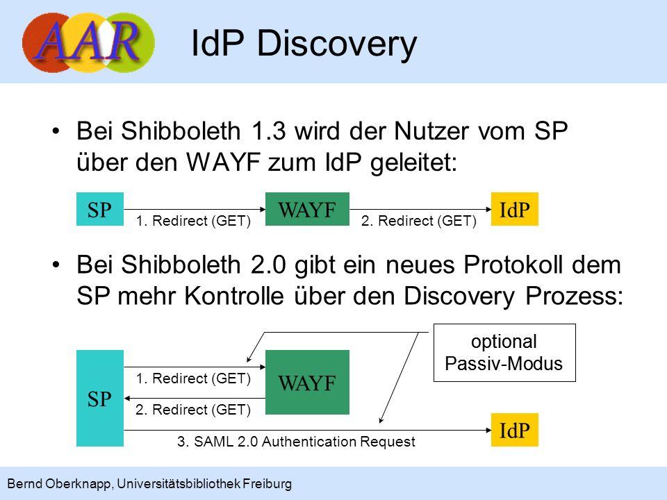 IdP Discovery Bei Shibboleth 1.3 wird der Nutzer vom SP über den WAYF zum IdP geleitet: SP. WAYF.