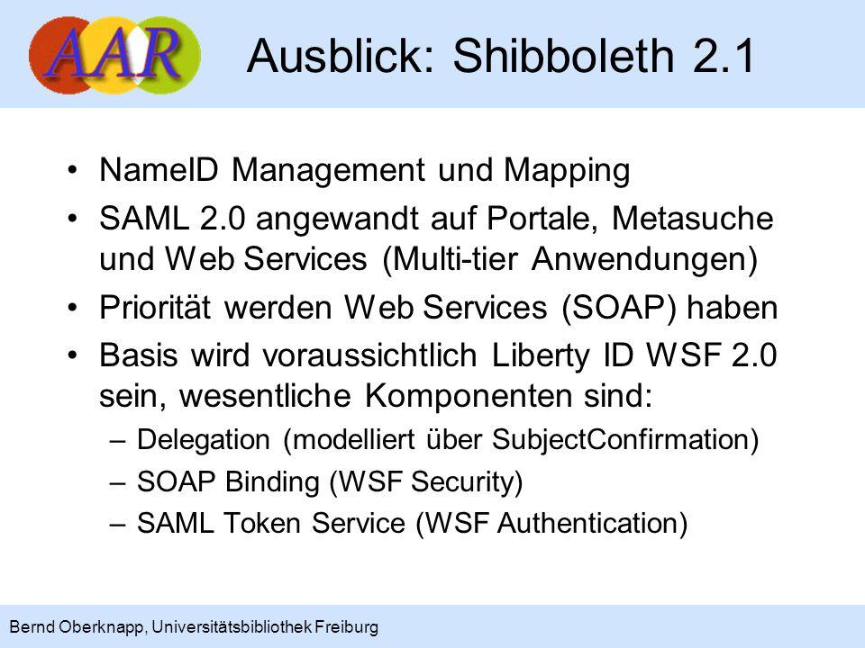 Ausblick: Shibboleth 2.1 NameID Management und Mapping