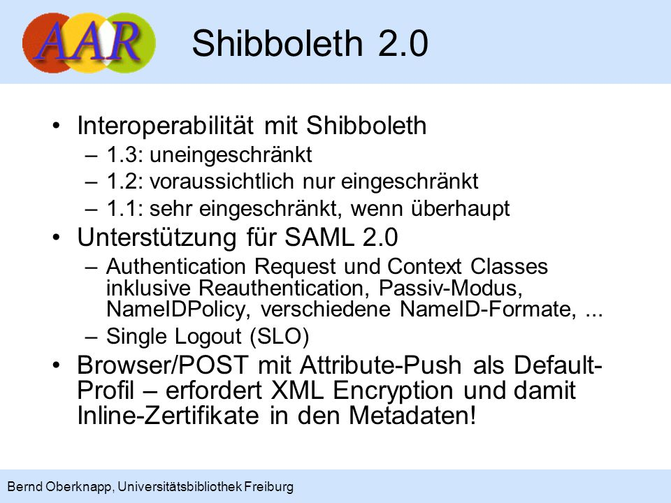 Shibboleth 2.0 Interoperabilität mit Shibboleth