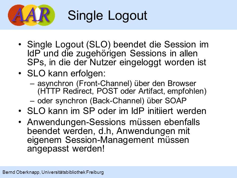 Single Logout Single Logout (SLO) beendet die Session im IdP und die zugehörigen Sessions in allen SPs, in die der Nutzer eingeloggt worden ist.