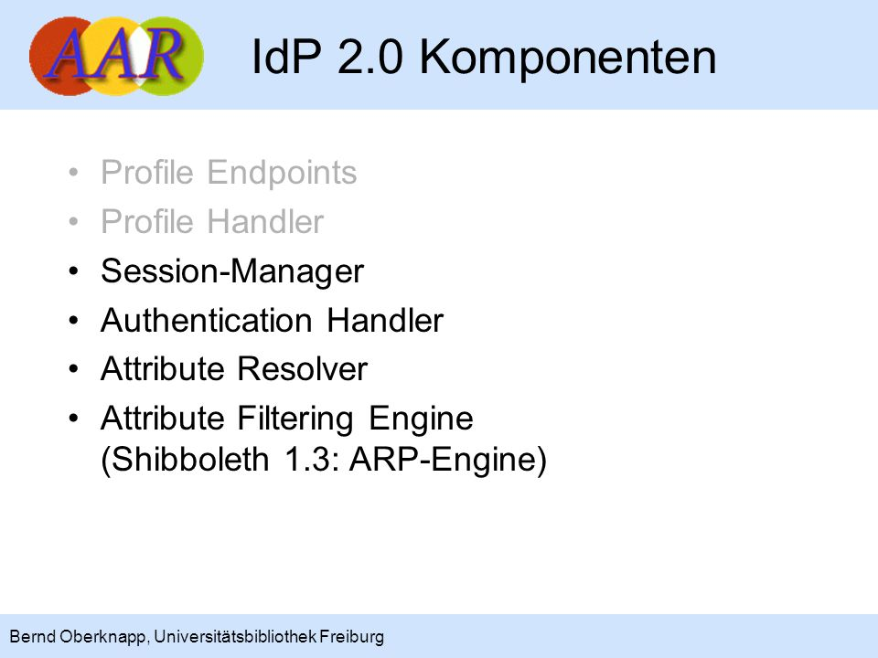 IdP 2.0 Komponenten Profile Endpoints Profile Handler Session-Manager