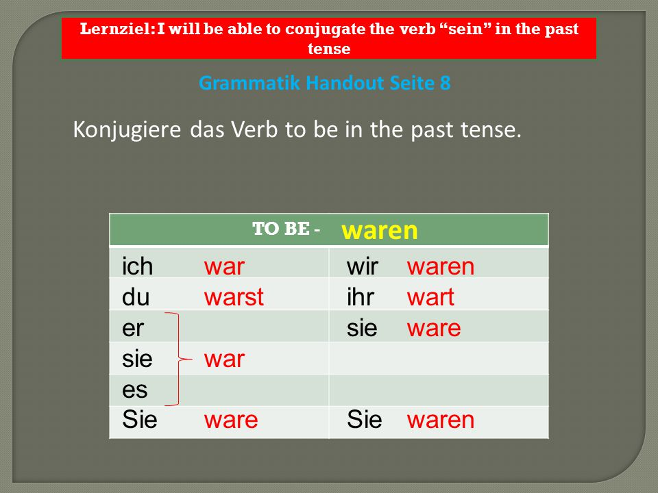 waren Konjugiere das Verb to be in the past tense. ich du er sie es