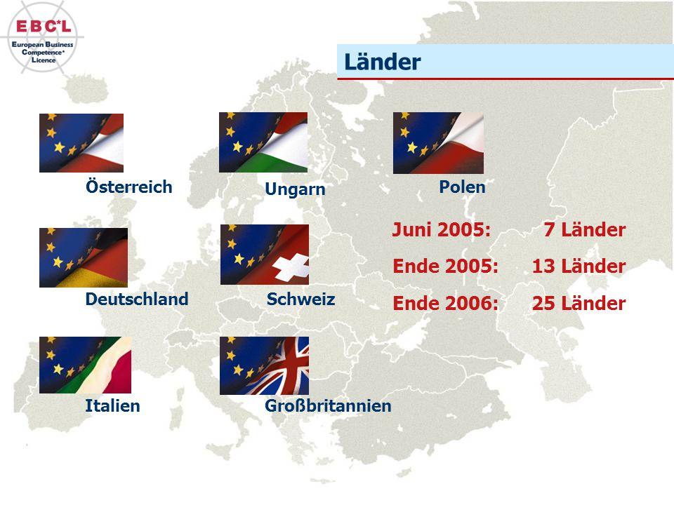 Länder Juni 2005: 7 Länder Ende 2005: 13 Länder Ende 2006: 25 Länder