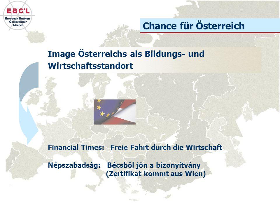 Chance für Österreich Image Österreichs als Bildungs- und Wirtschaftsstandort. Financial Times: Freie Fahrt durch die Wirtschaft.