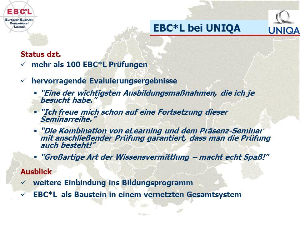 EBC*L bei UNIQA Status dzt. mehr als 100 EBC*L Prüfungen