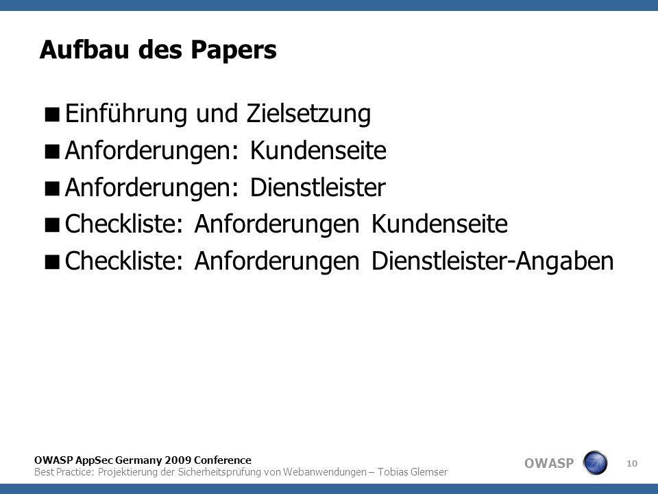 Aufbau des Papers Einführung und Zielsetzung. Anforderungen: Kundenseite. Anforderungen: Dienstleister.
