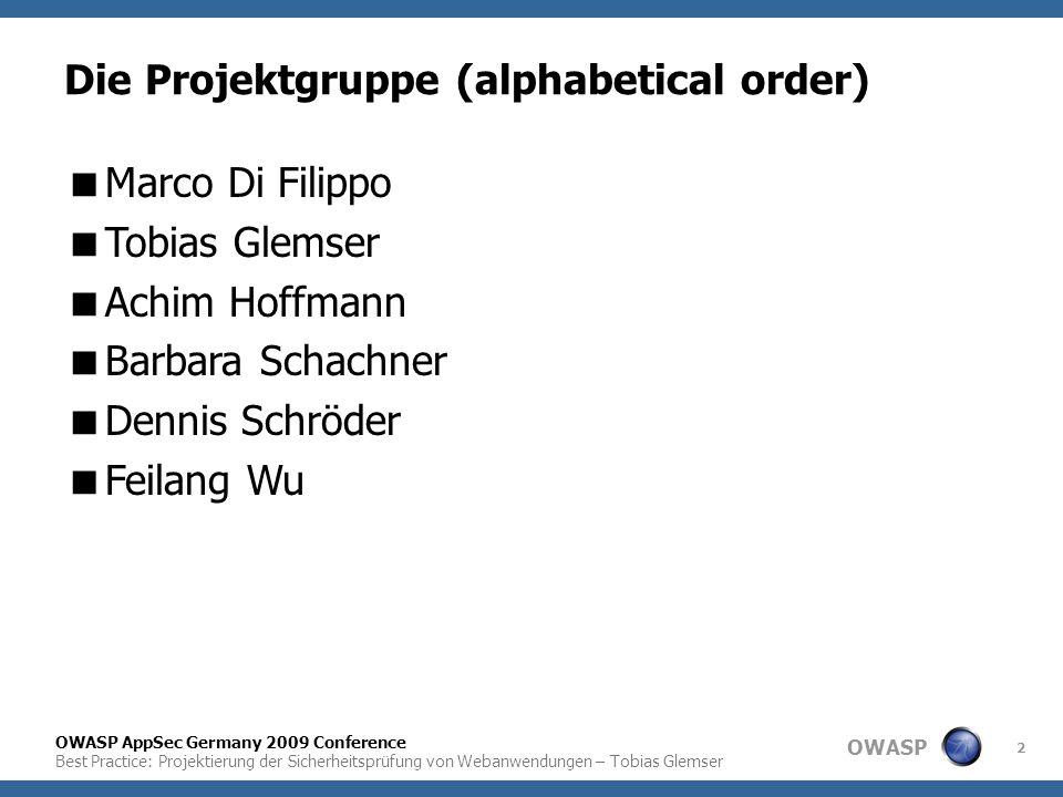 Die Projektgruppe (alphabetical order)