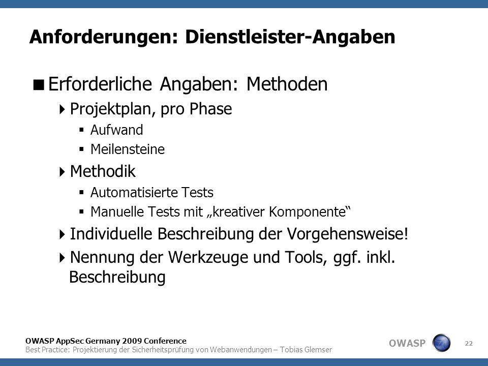 Anforderungen: Dienstleister-Angaben