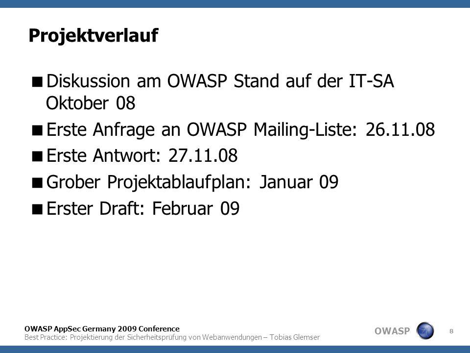Projektverlauf Diskussion am OWASP Stand auf der IT-SA Oktober 08. Erste Anfrage an OWASP Mailing-Liste: 26.11.08.