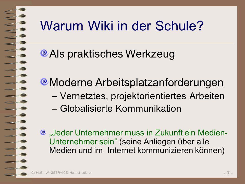 Warum Wiki in der Schule