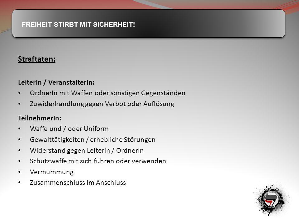 Straftaten: LeiterIn / VeranstalterIn: