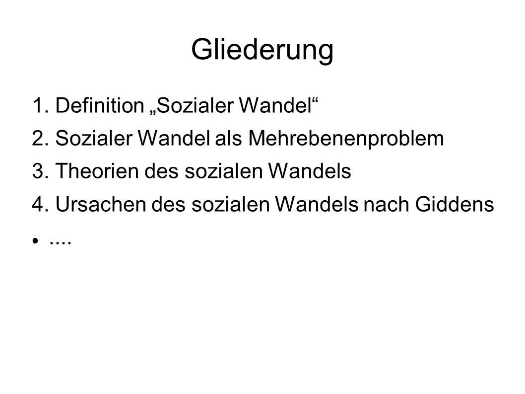"""Gliederung 1. Definition """"Sozialer Wandel"""