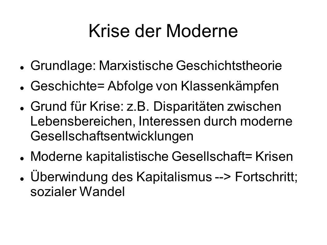 Krise der Moderne Grundlage: Marxistische Geschichtstheorie