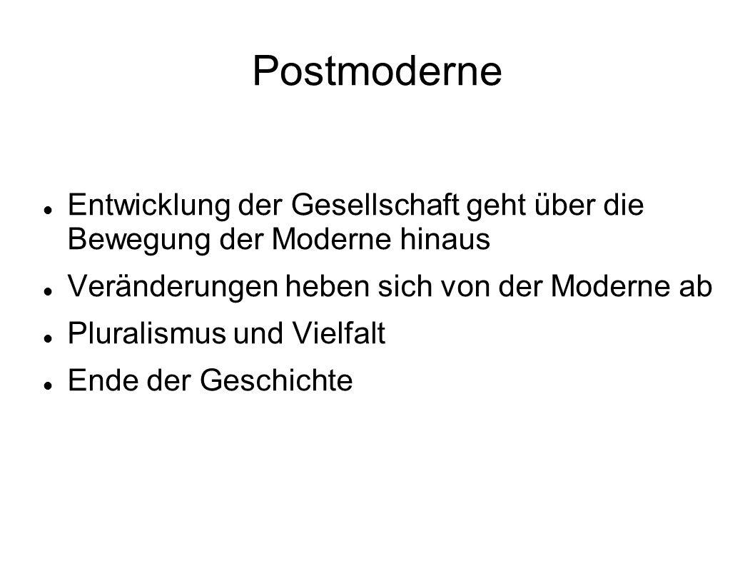 Postmoderne Entwicklung der Gesellschaft geht über die Bewegung der Moderne hinaus. Veränderungen heben sich von der Moderne ab.