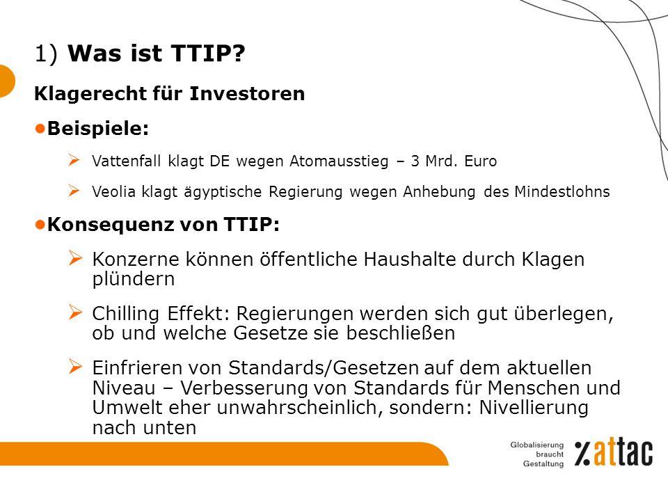 1) Was ist TTIP Klagerecht für Investoren Beispiele:
