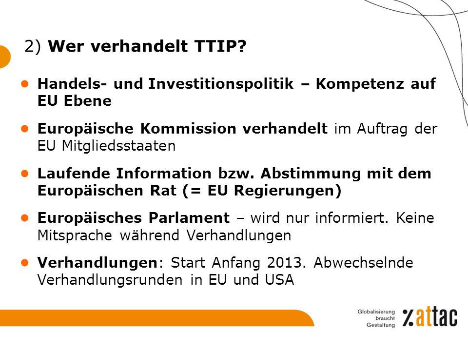 2) Wer verhandelt TTIP Handels- und Investitionspolitik – Kompetenz auf EU Ebene.