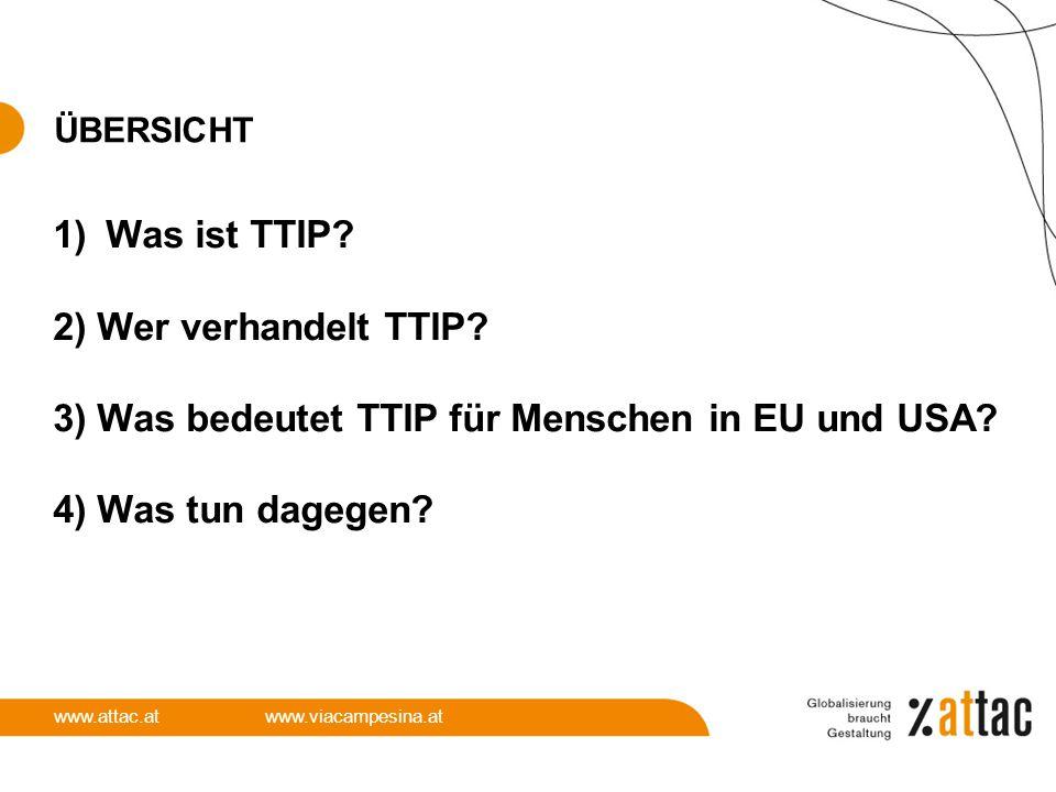 3) Was bedeutet TTIP für Menschen in EU und USA 4) Was tun dagegen