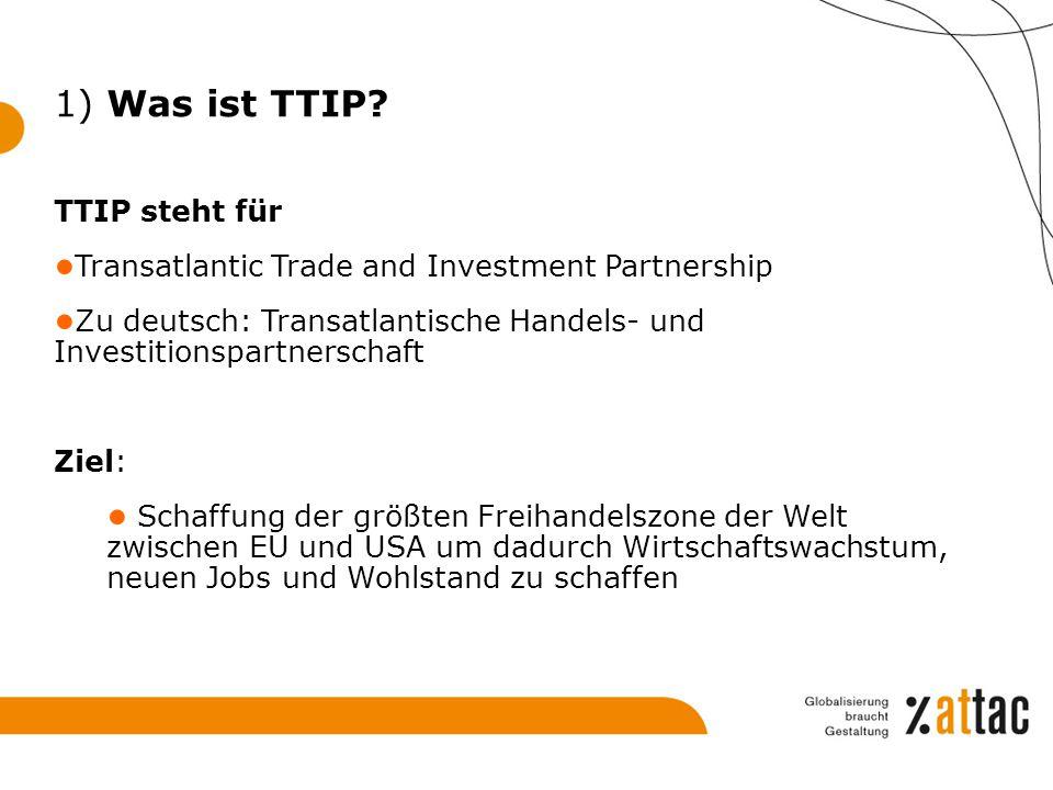 1) Was ist TTIP TTIP steht für