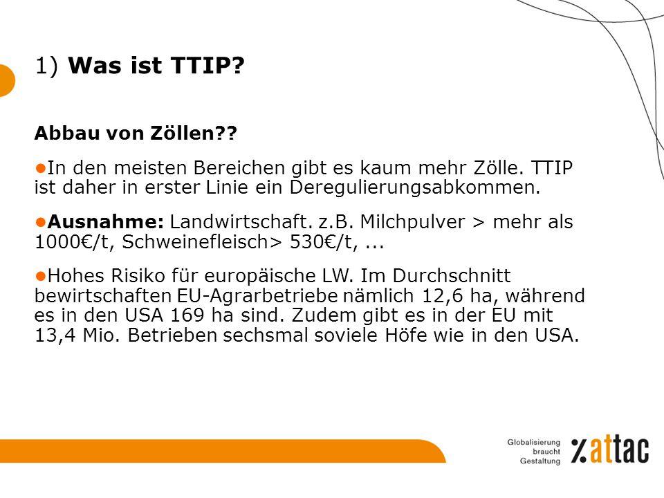 1) Was ist TTIP Abbau von Zöllen