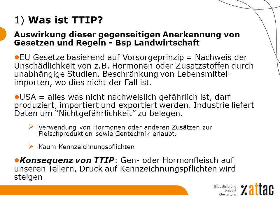 1) Was ist TTIP Auswirkung dieser gegenseitigen Anerkennung von Gesetzen und Regeln - Bsp Landwirtschaft.