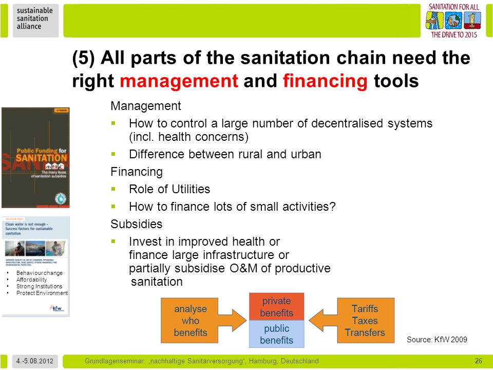 (5) All parts of the sanitation chain need the right management and financing tools