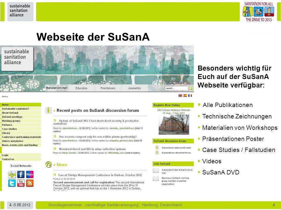Webseite der SuSanA Besonders wichtig für Euch auf der SuSanA Webseite verfügbar: Alle Publikationen.