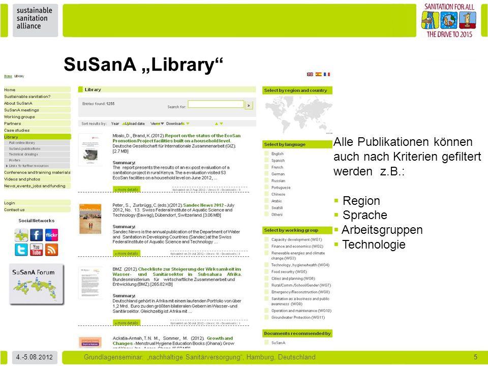 """SuSanA """"Library Alle Publikationen können auch nach Kriterien gefiltert werden z.B.: Region. Sprache."""