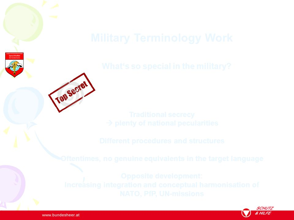 Military Terminology Work What's so special in the military