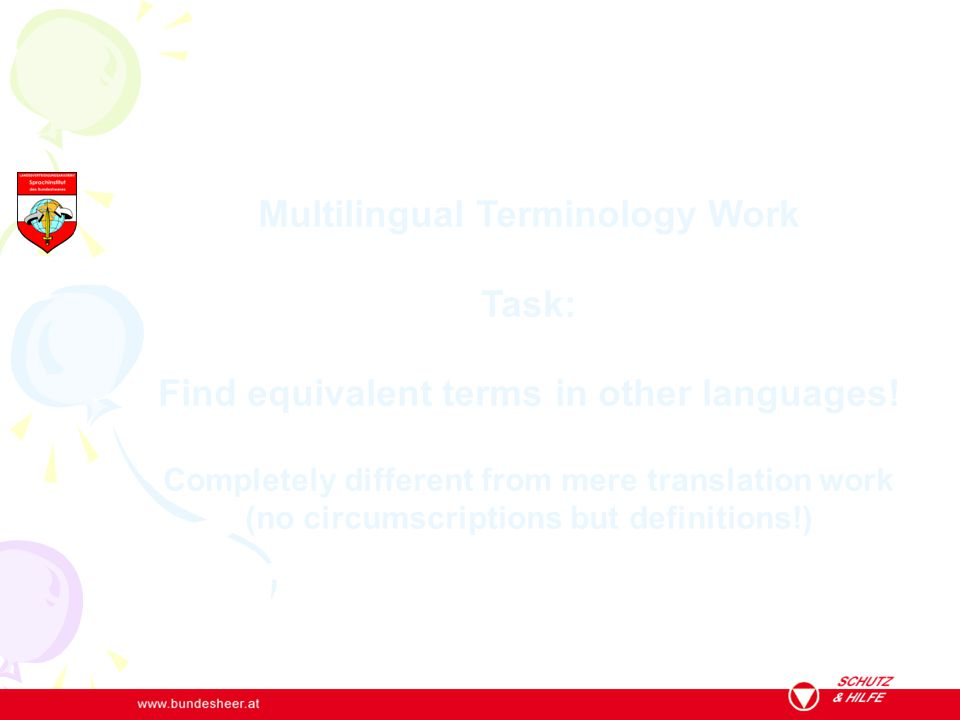 Multilingual Terminology Work