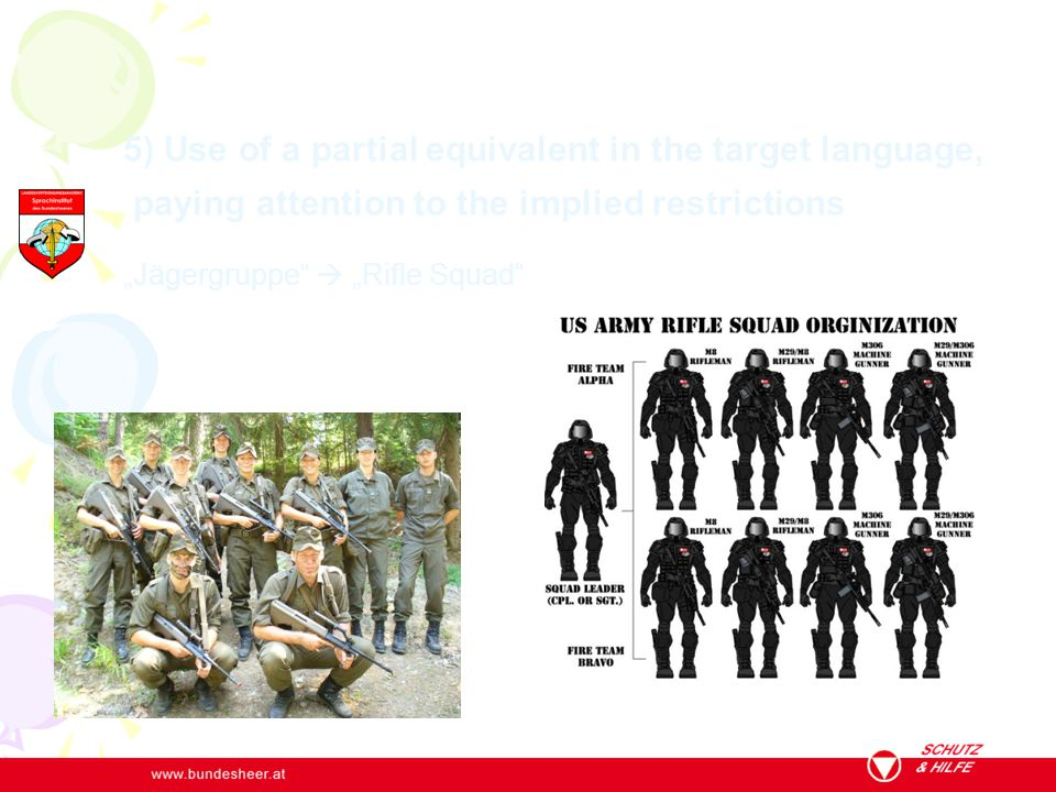 "5) Use of a partial equivalent in the target language, paying attention to the implied restrictions ""Jägergruppe  ""Rifle Squad"