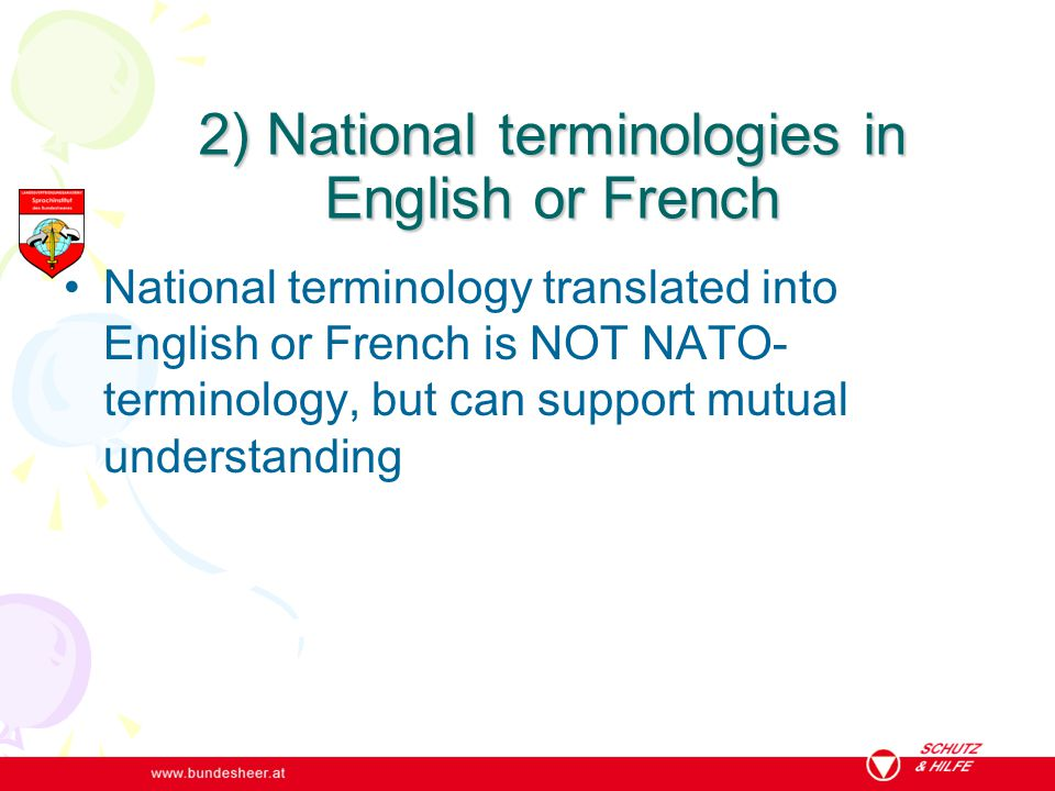2) National terminologies in English or French