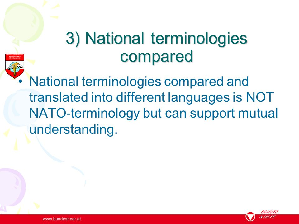 3) National terminologies compared