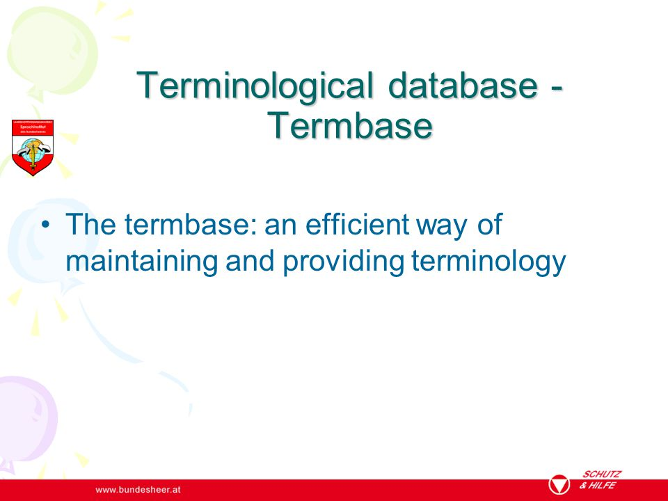 Terminological database - Termbase