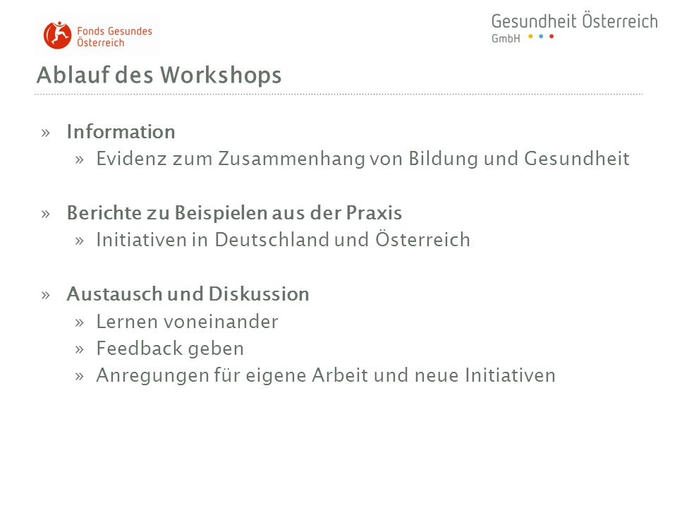 Ablauf des Workshops Information