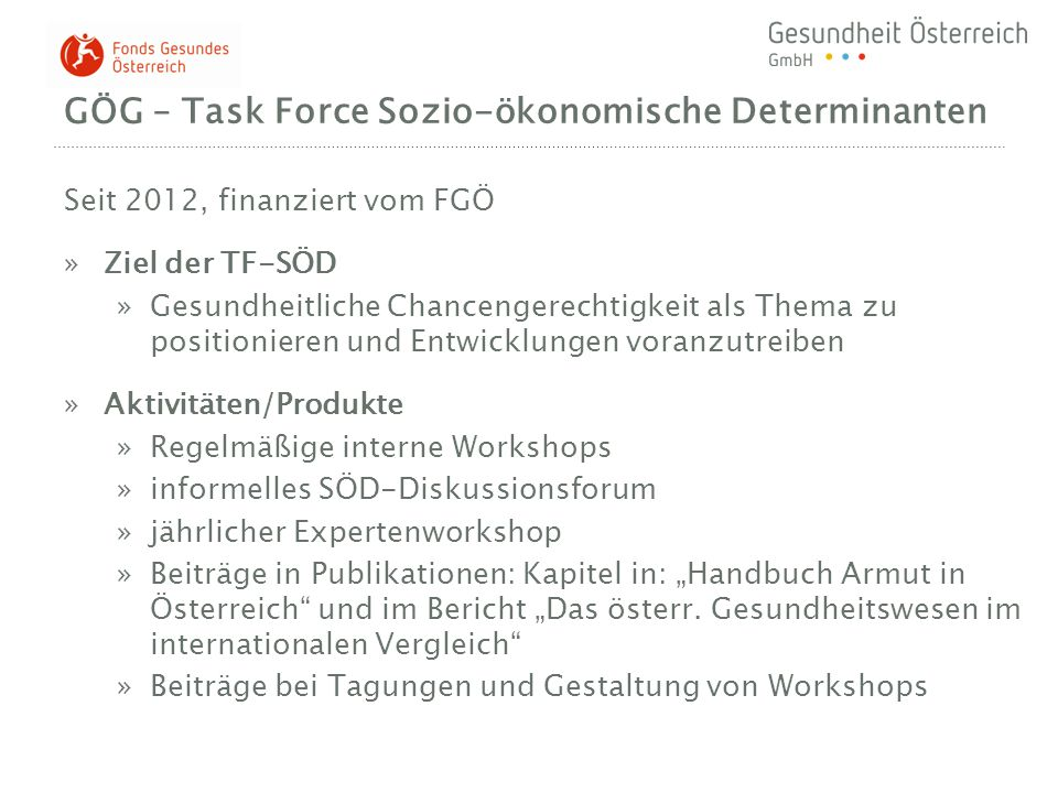 GÖG – Task Force Sozio-ökonomische Determinanten